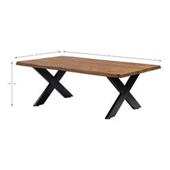 WOMO-DESIGN Couchtisch braun/schwarz, 110x70 cm, aus Akazienholz mit Metallgestell X-Füße