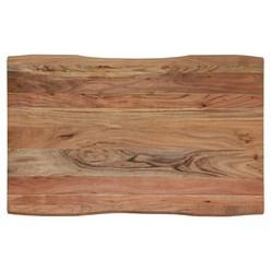 WOMO-DESIGN Couchtisch natur/silber, 110x70 cm, aus Akazienholz mit Metallgestell