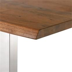 WOMO-DESIGN Couchtisch braun/silber, 110x60 cm, aus Akazienholz mit Metallgestell