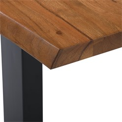 WOMO-DESIGN Couchtisch braun/schwarz, 110x60 cm, aus Akazienholz mit Metallgestell