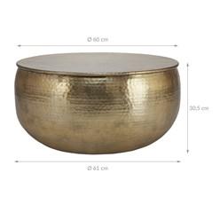 WOMO-DESIGN Couchtisch rund, gold, Ø 60 x 30.5 cm, aus Aluminium-Legierung in Hammerschlag-Technik