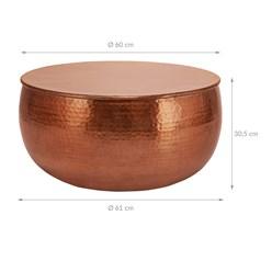 WOMO-DESIGN Couchtisch rund, kupfer, Ø 60 x 30.5 cm, aus Aluminium-Legierung in Hammerschlag-Technik