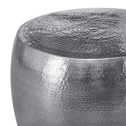 WOMO-DESIGN Couchtisch, Ø 53x41 cm, Silber, aus Aluminium-Legierung in Hammerschlag-Technik