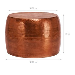 WOMO-DESIGN Couchtisch, Ø 53x41 cm, Kupfer, aus Aluminium-Legierung in Hammerschlag-Technik