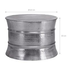 WOMO-DESIGN Couchtisch, Ø 62x33 cm, Silber, aus Aluminium-Legierung in Hammerschlag-Technik