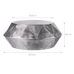 WOMO-DESIGN Couchtisch, Ø 73x28.5 cm, Silber, aus Aluminium-Legierung in Hammerschlag-Technik