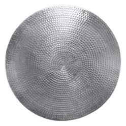 WOMO-DESIGN Couchtisch, Ø 76x32 cm, Silber, aus Aluminium-Legierung in Hammerschlag-Technik