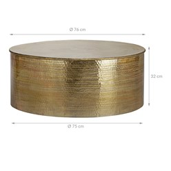 WOMO-DESIGN Couchtisch rund, gold, Ø 76 x 32 cm, aus Aluminium-Legierung in Hammerschlag-Technik