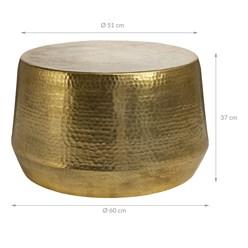 WOMO-DESIGN Couchtisch gold, Ø 60x37 cm, aus Aluminium-Legierung in Hammerschlag-Technik
