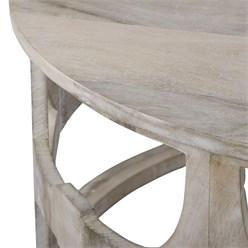 WOMO-DESIGN Couchtisch Barcelona Weiß, Ø 75x35 cm, aus Mango Massivholz