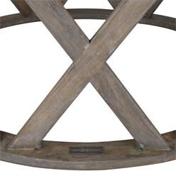 WOMO-DESIGN Handgeschnitzter Couchtisch Athens, Braun, Ø 75x35 cm, aus Mango Massivholz