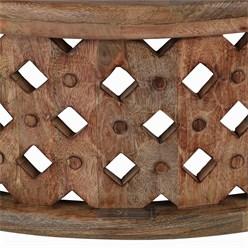 WOMO-DESIGN Handgeschnitzter Couchtisch Bonn, Braun, Ø 75x35 cm, aus Mango Massivholz