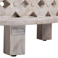WOMO-DESIGN Handgeschnitzter Couchtisch Napoli, Weiß, Ø 75x35 cm, aus Mango Massivholz