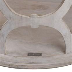 WOMO-DESIGN Beistelltisch weiß, Ø 75x35 cm, rund, aus massives Mangoholz