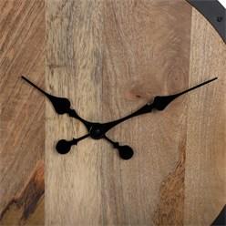 WOMO-DESIGN Wanduhr rund, Ø 76 x 5 cm, schwarz/natur, aus Eisen und Mangoholz