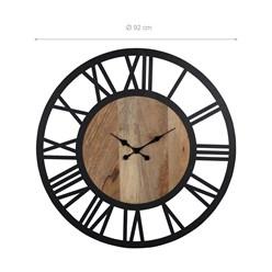 WOMO-DESIGN Wanduhr rund, Ø 92 x 5 cm, schwarz/natur, aus Eisen und Mangoholz