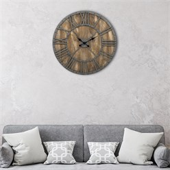 WOMO-DESIGN Wall clock round, Ø 76 x 5 cm, grey/oak colour, made of iron and mango wood