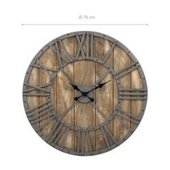 WOMO-DESIGN Wanduhr rund, Ø 76 x 5 cm, grau/eichenfarbe, aus Eisen und Mangoholz