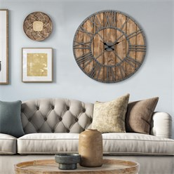 WOMO-DESIGN Wall clock round, Ø 92 x 5 cm, grey/oak colour, made of iron and mango wood