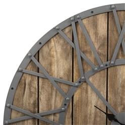 WOMO-DESIGN Wanduhr rund, Ø 92 x 5 cm, grau/eichenfarbe, aus Eisen und Mangoholz