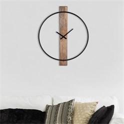 Horloge murale WOMO-DESIGN ronde, Ø 76 x 5 cm, noir/manguier foncé, en fer et bois de manguier