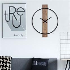 Horloge murale WOMO-DESIGN ronde, Ø 92 x 5 cm, noir/manguier foncé, en fer et bois de manguier