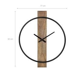 WOMO-DESIGN Wanduhr rund, Ø 92 cm, schwarz/natur, aus Eisen und Mangoholz