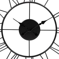 WOMO-DESIGN Wanduhr rund, Ø 92 x 5 cm, schwarz, aus Eisen