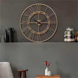 WOMO-DESIGN Wall clock round, Ø 76 x 5 cm, old gold, made of iron