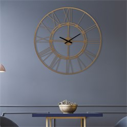 WOMO-DESIGN Wall clock round, Ø 92 x 5 cm, old gold, made of iron