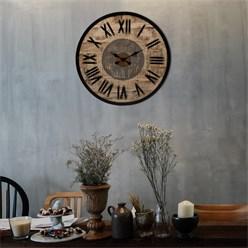 WOMO-DESIGN Wanduhr rund, Ø 76 x 5 cm, schwarz/natur/grau, aus Eisen und Mangoholz