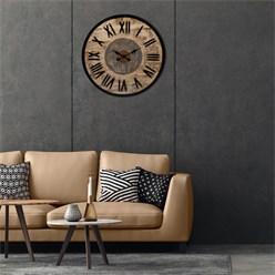 WOMO-DESIGN Wanduhr rund, Ø 92 x 5 cm, schwarz/natur/grau, aus Eisen und Mangoholz