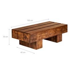WOMO-DESIGN Couchtisch braun, 100x45x30 cm, aus massives Akazienholz