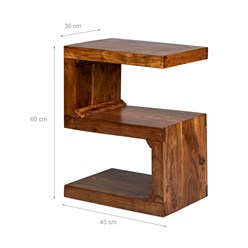 WOMO-DESIGN Beistelltisch S-Form braun, 45x30x60 cm, aus massives Akazienholz