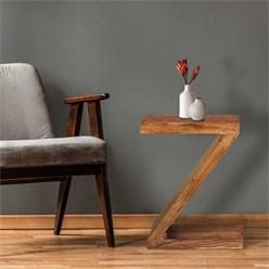 WOMO-DESIGN Beistelltisch braun, Z-Form, 45x30x60 cm, aus massives Akazienholz