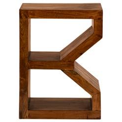 WOMO-DESIGN Beistelltisch B-Form braun, 45x30x60 cm, aus massives Akazienholz
