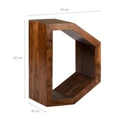 WOMO-DESIGN Beistelltisch D-Form braun, 45x30x60 cm, aus massives Akazienholz