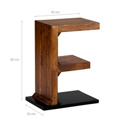 WOMO-DESIGN Beistelltisch F-Form braun, 45x30x60 cm, aus massives Akazienholz