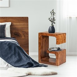 WOMO-DESIGN Beistelltisch G-Form braun, 45x30x60 cm, aus massives Akazienholz