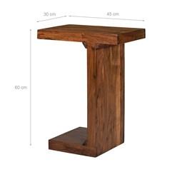 WOMO-DESIGN Beistelltisch J-Form braun, 45x30x60 cm, aus massives Akazienholz