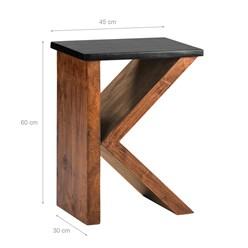 WOMO-DESIGN Beistelltisch K-Form braun, 45x30x60 cm, aus massives Akazienholz