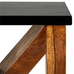 WOMO-DESIGN Beistelltisch M-Form braun, 45x30x60 cm, aus massives Akazienholz