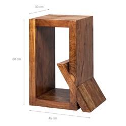WOMO-DESIGN Beistelltisch Q-Form braun, 45x30x60 cm, aus massives Akazienholz