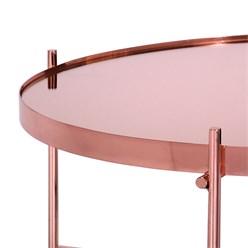 WOMO-DESIGN Couchtisch Ø 75x35 cm Kupfer glänzend mit Glasplatte