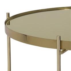 WOMO-DESIGN Couchtisch Ø 75x35 cm Altmessing glänzend mit Glasplatte