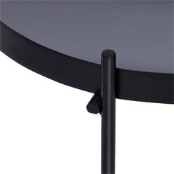 WOMO-DESIGN Couchtisch Ø 75x35 cm Schwarz matt mit Glasplatte