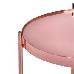 WOMO-DESIGN Beistelltisch Ø 43x45 cm Kupfer glänzend mit Glasplatte