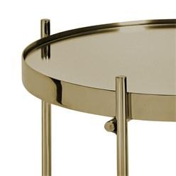WOMO-DESIGN Beistelltisch Ø 43x45 cm Altmessing glänzend mit Glasplatte