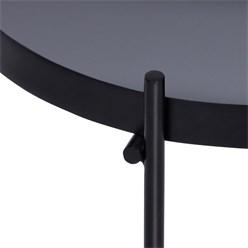 WOMO-DESIGN Beistelltisch Ø 43x45 cm Schwarz matt mit Glasplatte