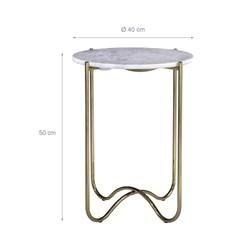WOMO-DESIGN Beistelltisch gold, Ø 40x50 cm, aus Metall und Marmor